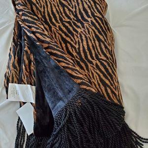 Black and Gold Zebra Print Throw NEW